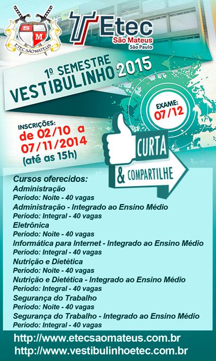 Vestibulinho 2015 – 1º Semestre - Curta!!! Compartilhe!!!
