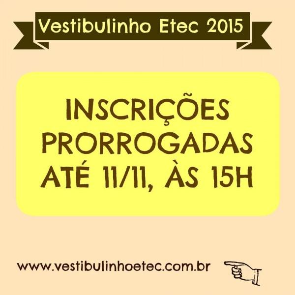 Prorrogação das inscrições - Vestibulinho 1º Sem/2015