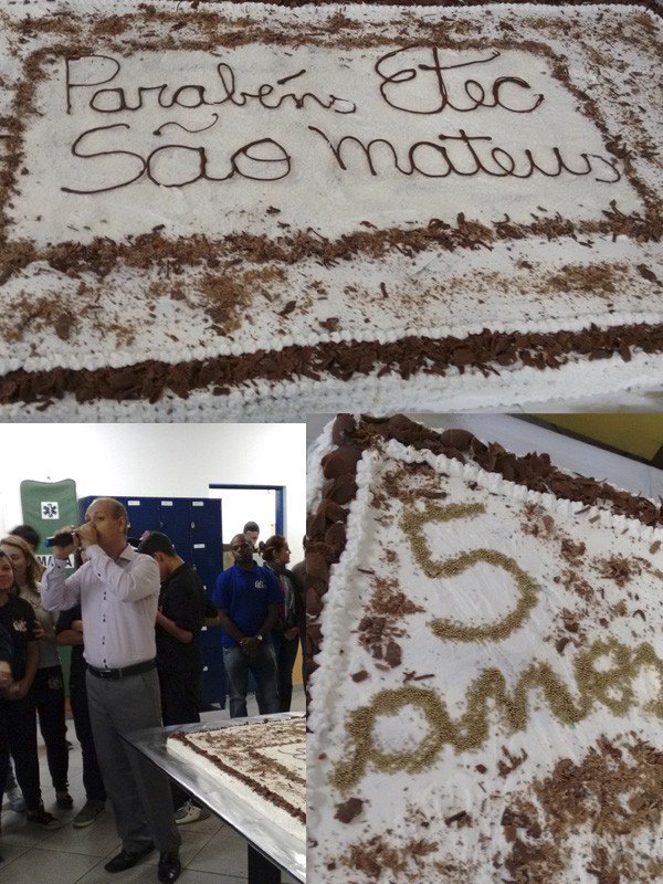Bolo para comemorar os 5 anos da Etec São Mateus.